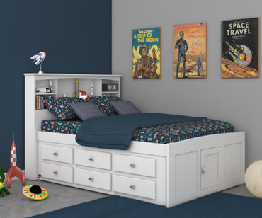 Cambridge Full Bookcase Captains Bed