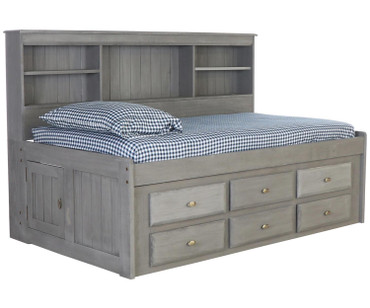 Westport Gray Twin Size Bookcase Captain's Day Bed