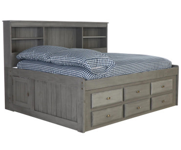 Westport Gray Full Size Bookcase Captain's Day Bed