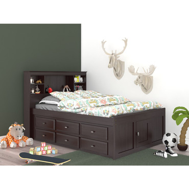 Espresso Full Bookcase Captains Bed
