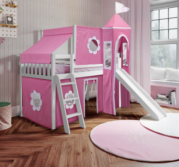 Jackpot York 12 Twin Play Loft with Pink/White Curtain, Tower & Top Tent (with Ladder & Slide) – White