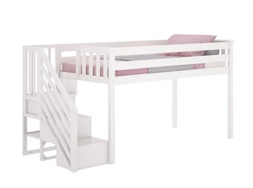 M3 Low Loft Bed w/Staircase White