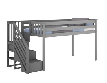 M3 Low Loft Bed w/Staircase Grey