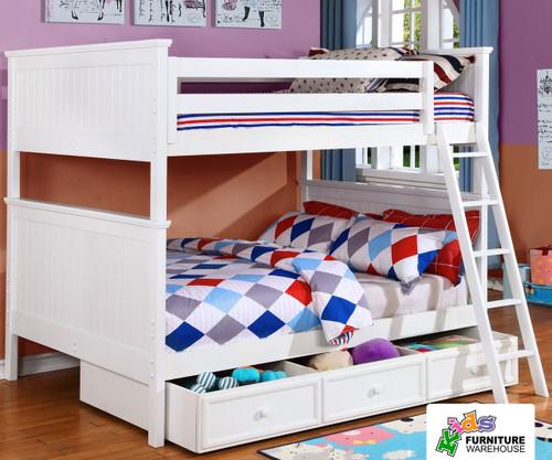 Allen House Chatham Full over Full Bunk Bed White | Allen House | AH-BB-FF-01