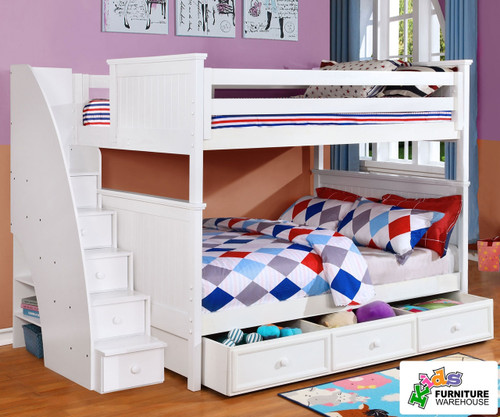 Allen House Chatham Full over Full Bunk Bed with Stairs White | Allen House | AH-BB-FF-01-STR-T-BB
