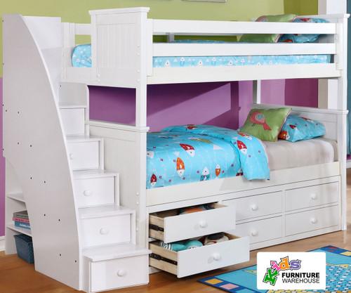 Allen House Chatham Bunk Bed with Stairs White | Allen House | AH-BB-TT-01-STR-T-BB