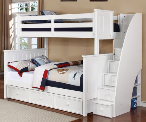 Allen House Brandon Twin over Full Bunk Bed with Stairs White   Allen House   AH-J-TF-01-STR-T-J