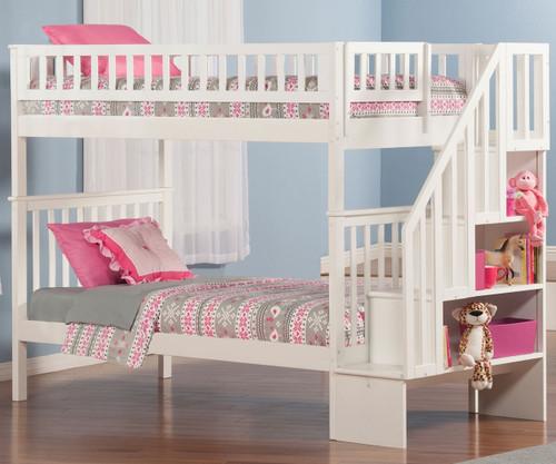 Woodland Stair Bunk Bed White   Atlantic Furniture   ATL-AB56602