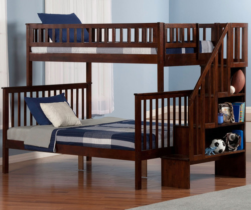 Woodland Stair Bunk Bed Twin over Full Antique Walnut   Atlantic Furniture   ATL-AB56704