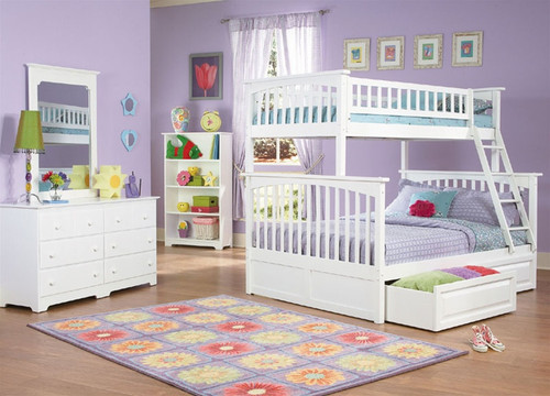 Columbia Twin over Full Bunk Bed White | Atlantic Furniture | ATLCOL-TF-WH