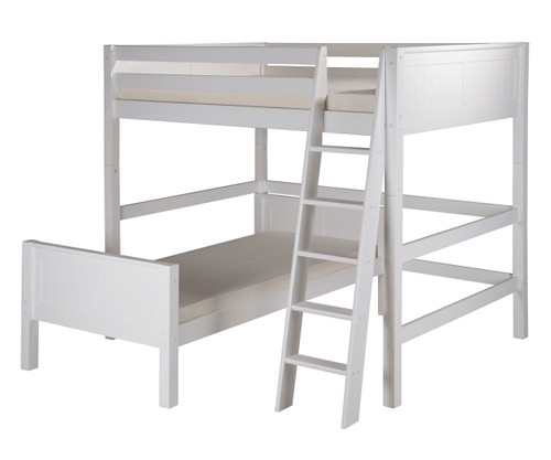 Camaflexi L-Shaped High Loft Bed Full over Twin Size White 1 | Camaflexi Furniture | CF-E2123