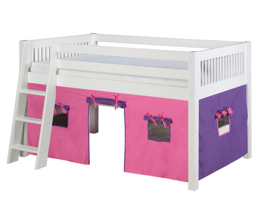 Camaflexi Low Loft Bed with Pink Tent Twin Size White   Camaflexi Furniture   CF-E413T