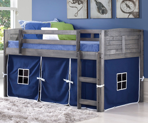Louver Low Loft Bed with Blue Tent Antique Grey   Donco Trading   DT-790AAG-B
