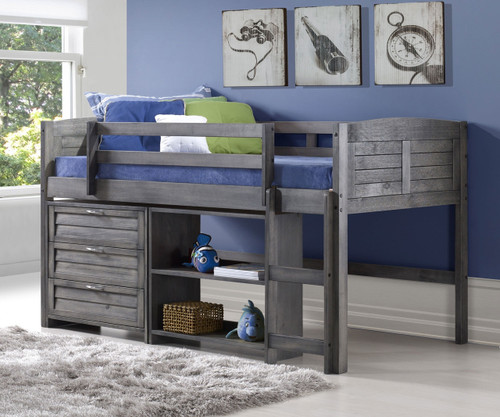 Louver Low Loft Bed with Chest and Bookcase Antique Grey | Donco Trading | DT-790AAG-Config-C