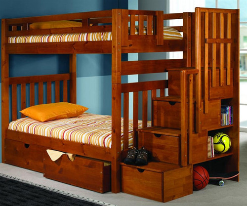 Mission Honey Stair Stepper Bunk Bed | Donco Trading | DT200H