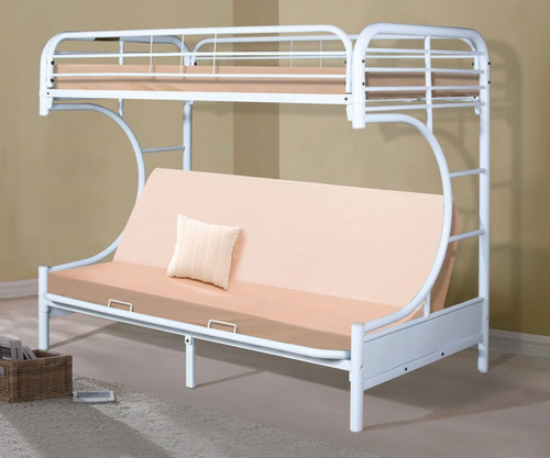 Donco C-Shaped Futon Bunk Bed White | Donco Trading | DT4509-3WH