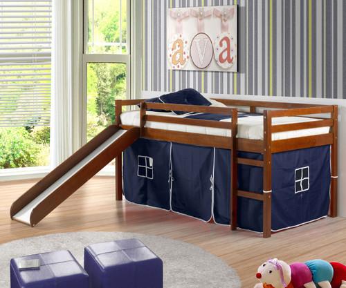 Low Loft Bed with Blue Tent & Slide Espresso | Donco Trading | DT750ETB