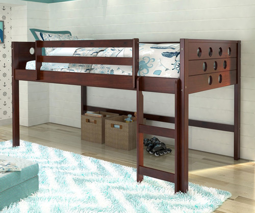Circles Low Loft Bed Twin Size Cappuccino | Donco Trading | DT780ATCP
