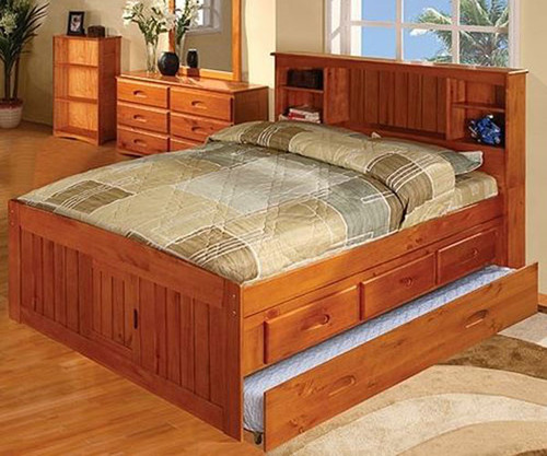 Ridgeline Full Size  Bookcase Trundle Captains Bed