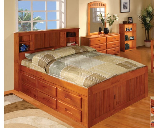 Ridgeline Full Size  Bookcase Captains Bed 1   Discovery World Furniture   DWF2121-CL