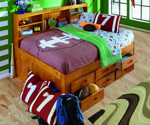 Honey Full Size Bookcase Captain's Day Bed