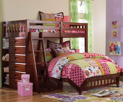 Acadia Twin over Full Loft Bed 1   Discovery World Furniture   DWF2805-CL