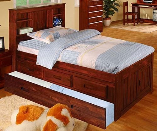 Acadia Merlot Twin Bookcase Captains Trundle  Bed | Discovery World Furniture | DWF2820-3DRTR