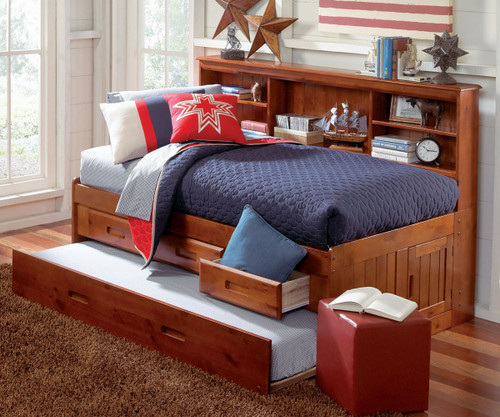 Merlot Twin Size Bookcase Captain's Day Bed with Trundle | Discovery World Furniture | DWF2822-3DRTR