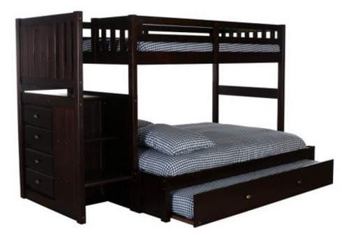 Espresso Twin over Full Stair Stepper Bunk Bed