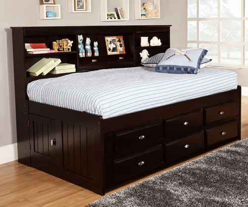Espresso Twin Size Bookcase Captain's Day Bed