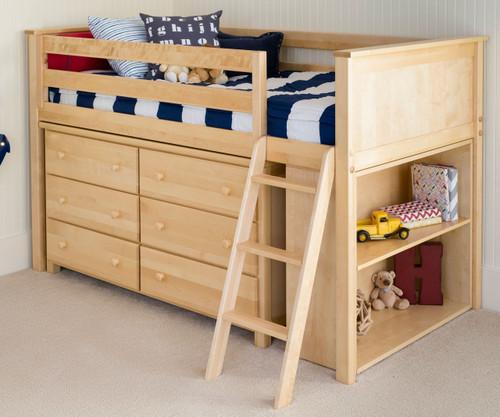 Jackpot Low Loft Bed with Dresser and Bookcase Natural | Jackpot Kids Furniture | JACKPOT-710110X-001