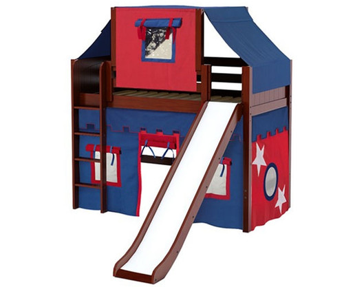 Maxtrix AWESOME Mid Loft Bed with Tent & Slide Twin Size Chestnut | Maxtrix Furniture | MX-AWESOME21-CX