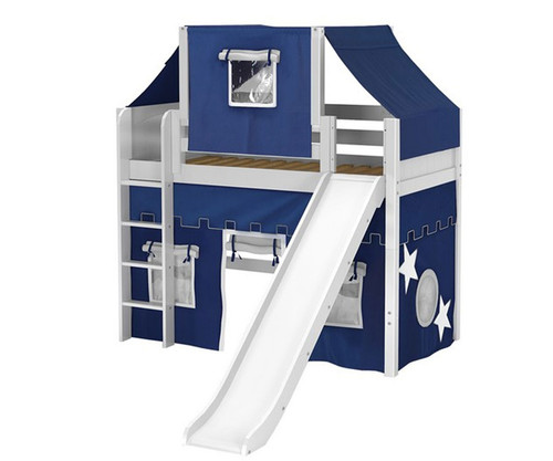 Maxtrix AWESOME Mid Loft Bed with Tent & Slide Twin Size White 1 | Maxtrix Furniture | MX-AWESOME22-WX