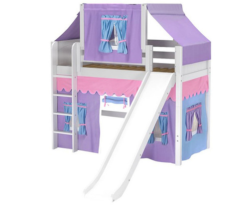 Maxtrix AWESOME Mid Loft Bed with Tent & Slide Twin Size White 3 | Maxtrix Furniture | MX-AWESOME27-WX