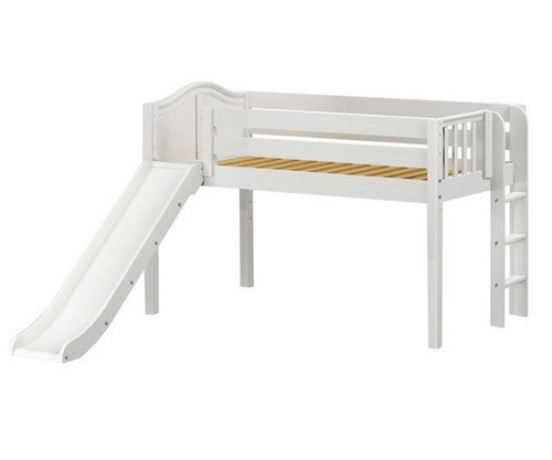 Maxtrix BRAINY Low Loft Bed with Slide Twin Size White | Maxtrix Furniture | MX-BRAINY-WX