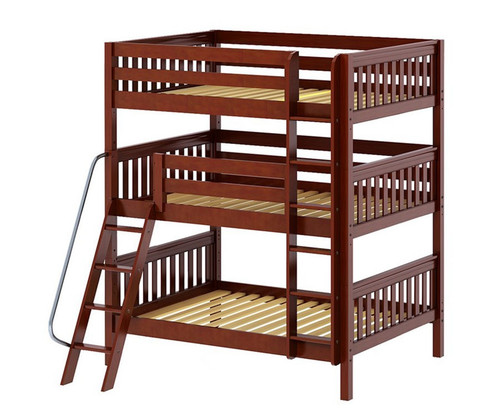 Maxtrix COMPLEX Triple Bunk Bed Full Size Chestnut | Maxtrix Furniture | MX-COMPLEX-CX