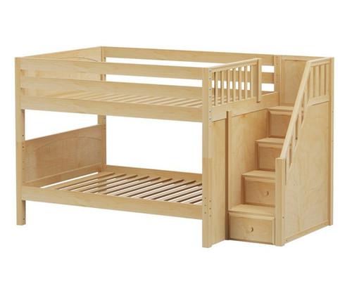 Maxtrix DAPPER Low Bunk Bed with Stairs Full Size Natural | Maxtrix Furniture | MX-DAPPER-NX