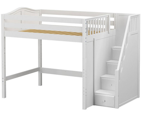 Maxtrix ENORMOUS High Loft Bed with Stairs Full Size White   Maxtrix Furniture   MX-ENORMOUS-WX