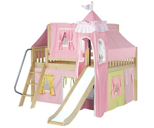 Maxtrix FANTASTIC Castle Low Loft Bed with Slide Full Size Natural 3 | Maxtrix Furniture | MX-FANTASTIC25-NX