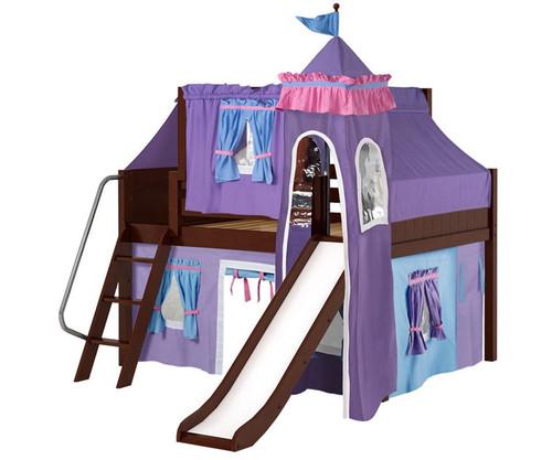 Maxtrix FANTASTIC Castle Low Loft Bed with Slide Full Size Chestnut 4   Maxtrix Furniture   MX-FANTASTIC27-CX