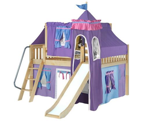 Maxtrix FANTASTIC Castle Low Loft Bed with Slide Full Size Natural 4 | Maxtrix Furniture | MX-FANTASTIC27-NX