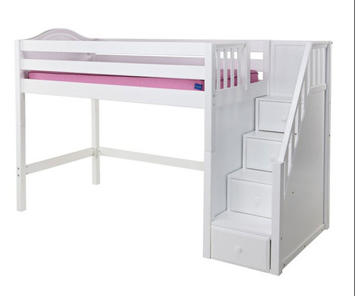 Maxtrix GALANT Mid Loft Bed with Stairs Twin Size White | Maxtrix Furniture | MX-GALANT-WX