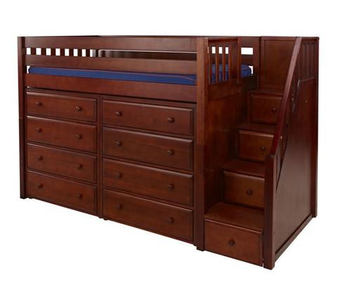 Maxtrix GALANT Mid Loft Bed with Stairs & Dressers Twin Size Chestnut   Maxtrix Furniture   MX-GALANT3-CX