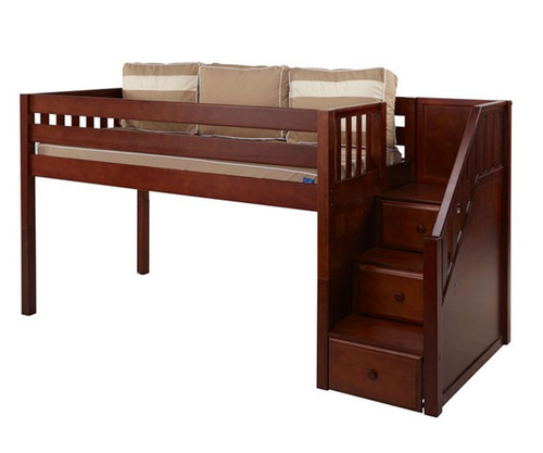 Maxtrix GREAT Low Loft Bed with Stairs Twin Size Chestnut | Maxtrix Furniture | MX-GREAT-CX