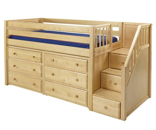 Maxtrix GREAT Storage Low Loft Bed with Stairs Twin Size Natural 1 | Maxtrix Furniture | MX-GREAT3-NX