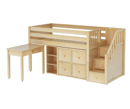 Maxtrix GREAT Storage Low Loft Bed with Stairs & Desk Twin Size Natural 1   Maxtrix Furniture   MX-GREAT4-NX
