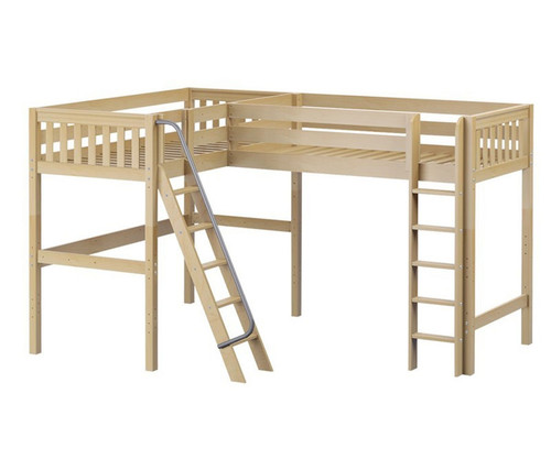Maxtrix HIGHRISE Corner High Loft Bed Twin Size Natural | Maxtrix Furniture | MX-HIGHRISE-NX