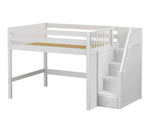 Maxtrix HIT Mid Loft Bed with Stairs Full Size White | Maxtrix Furniture | MX-HIT-WX