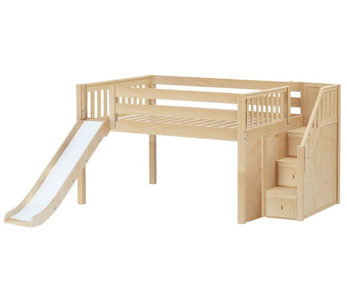 Maxtrix KAPOW Low Loft Bed with Stairs & Slide Full Size Natural | Maxtrix Furniture | MX-KAPOW-NX