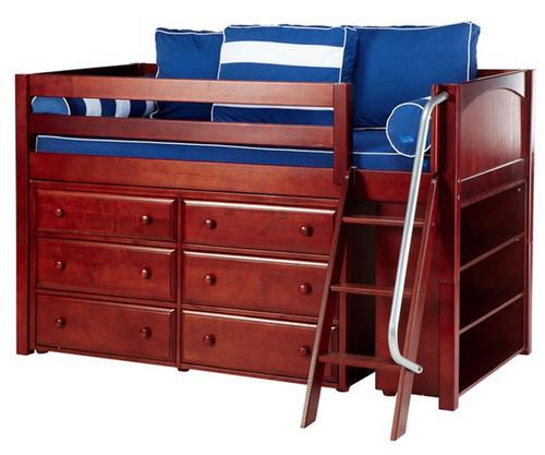 Maxtrix KICKS Low Loft Bed w/ Dresser & Bookcase Twin Size Chestnut | Maxtrix Furniture | MX-KICKS2-CX